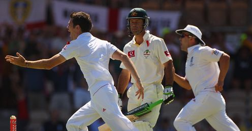 Low Pont: Australia skipper Ponting turns away dejected after falling first ball to Anderson