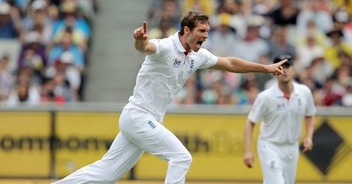 Tremendous: England's tallest seamer celebrates again en route to a four-wicket haul