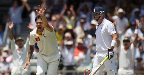 On the front foot: Johnson claims Pietersen's scalp in a devastating spell of bowling