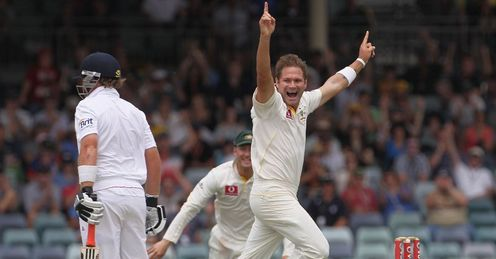 Bell is tolling: Harris celebrates after sending England's last hope, Ian Bell, on his way