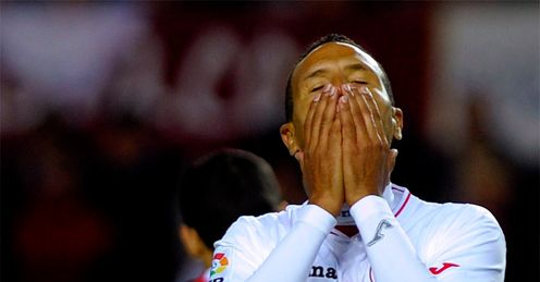 Tough times: for Luis Fabiano and Sevilla
