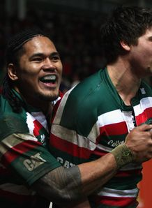 Ben Youngs and Alesana Tuilagi celebrating against Scarlets