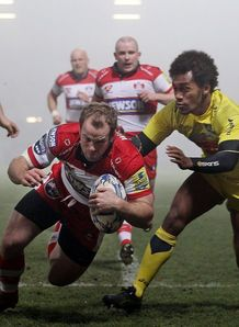 James Simpson Daniel try Gloucester Agen