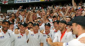 Moment to savour:  jubilant England celebrate their long-awaited triumph with the fans