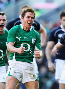 Eoin Reddan celebrates Ireland v Scotland