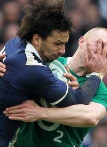 Six Nations Ireland v France Clement Poitrenaud shrugs off Sean O Brien