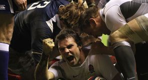 Ben Foden celebrates his try against France in the 2011 RBS Six Nations