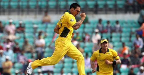 2011 Cricket World Cup Group A Australia v New Zealand Nagpur Mitchell Johnson celebrates Jesse Ryder wicket
