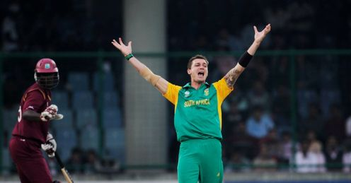 2011 Cricket World Cup Group B Delhi South Africa v West Indies Dale Steyn celebrates Darren Sammy wicket