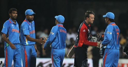 2011 World Cup Group B India v England Graeme Swann and Mahendra Dhoni shake hands post match