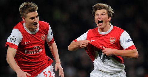 Super sub: Arshavin's winner has put Arsenal ahead - but they face a tough test at Camp Nou
