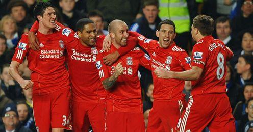 Raul Meireles Liverpool celeb v Chelsea