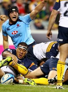 Sitaleki Timani try for Waratahs against Brumbies