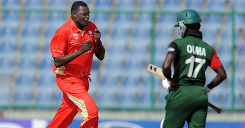 2011 World Cup Canada v Kenya Group A Delhi Henry Osinde celebrates Maurice Ouma wicket