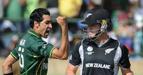 2011 World Cup Group A New Zealand v Pakistan Pallekele Umar Gul celebrates Jamie How wicket