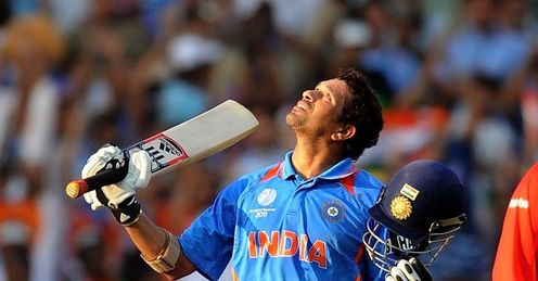 2011 World Cup Group B Nagpur India v South Africa Sachin Tendulkar celebrates 48th century