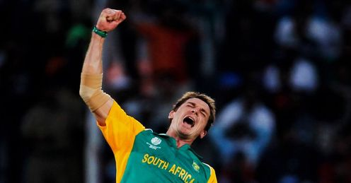 2011 World Cup Group B Nagpur India v South Africa Dake Steyn celebrates