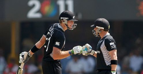2011 World Cup New Zealand v Zimbabwe Group A Ahmedabad Martin Guptill and Brendon McCullum