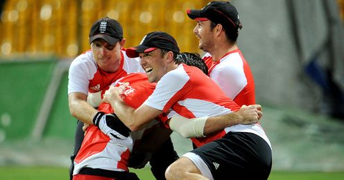 Strong bond: Yardy (right) at training with Bell, Anderson and Swann on Tuesday