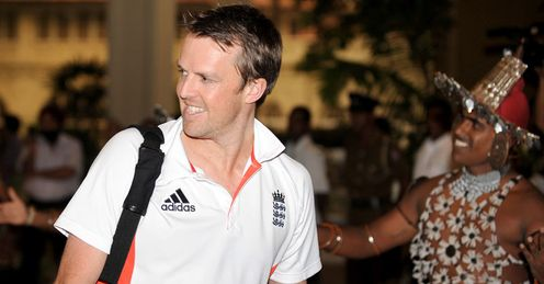 Time to step up: Swann is met by a traditional dancer as he and England arrive in Colombo
