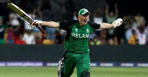 Kevin O Brien running celebration hundred Ireland v England world cup 2011 800x600