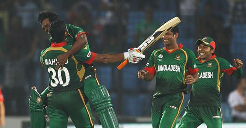 Bangladesh celebrate beating England in Chittagong World Cup 2011