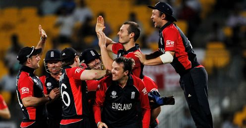 England celebrate beating West Indies in Chennai