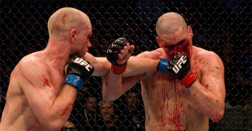 Sanchez (r): was blooded but victorious after a battle royale with Kampmann