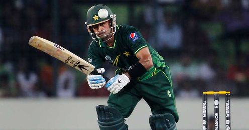 Mohammad Hafeez Pakistan batting against West Indies Dhaka