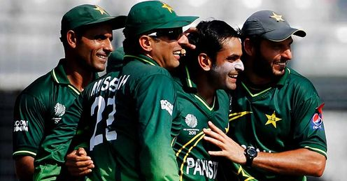 Mohammad Hafeez Pakistan congratulated after taking a wicket against West Indies