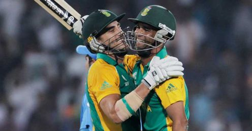 Francois du Plessis Robin Peterson South Africa celebrating win over India in Nagpur