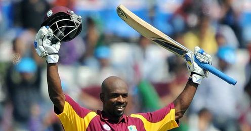 Devon Smith West Indies celebrating century against Ireland