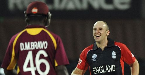 James Tredwell England v West Indies World Cup Group B Chennai Mar 2010