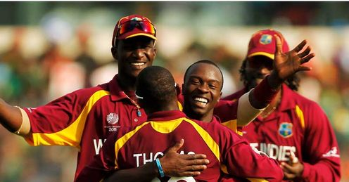 Kemar Roach West Indies celebrating a wicket during the win over Bangladesh 2011 Cricket World Cup