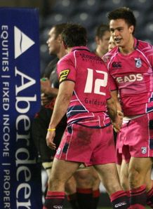 Chris Czekaj celebrates try for Cardiff Blues