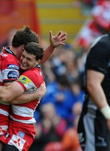 Jonny May celebrating try for Gloucester