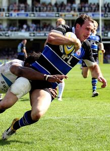 Matt Carraro Bath scoring a try against Exeter April 09 2011