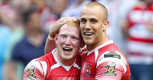 Liam Farrell Lee Mossop Wigan Warriors celebrating win over St Helens on Good Friday