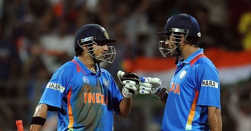 Gautam Gambhir and Mahendra Singh Dhoni India v Sri Lanka World Cup final Wankhede Stadium Mumbai Apr 2011