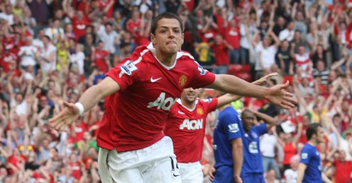 High-flyer: Hernandez's goal-scoring form has cushioned the blow of losing Berbatov