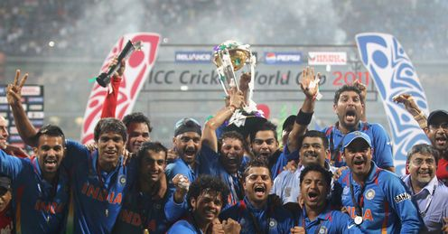India celebrated World Cup win v Sri Lanka Wankhede Stadium Mumbai Apr 2011