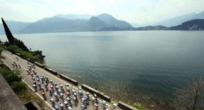 There was no time to admire Lake Como as the peloton set off at a rapid pace