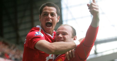 Happy days: Hernandez and Rooney have plenty to celebrate