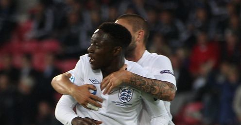 Welbeck: celebrates his late strike against Spain