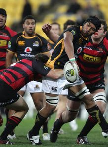 Victor Vito offload for Wellington against Canterbury