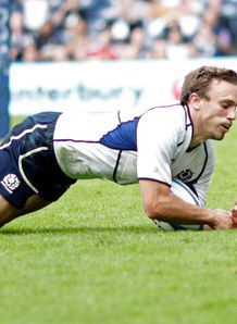 Scotland s scrum half Mike Blair scores v italy