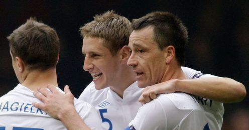 Committed duo: Dawson and Terry on Euro 2012 qualifying duty with England