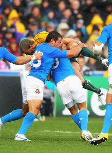 Australia wing Digby Ioane hit hard by Italians