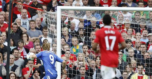 Horrid: Torres fires wide at Old Trafford.