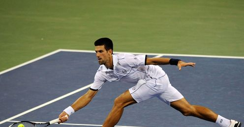 Stretched: Djokovic puts further pressure on Nadal by reaching another return in the final